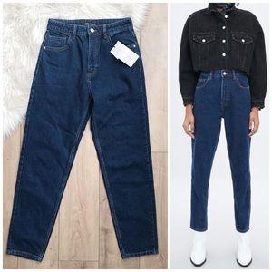 NWT ZARA Mom Fit Dark Wash Jeans! Size 4
